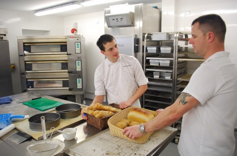 Head Baker Kev and trainee Charlie at the end of the day&#039;s production