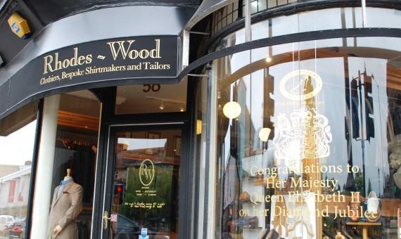 Tailors Rhodes~Wood with a classic interpretation of a Jubilee window display.