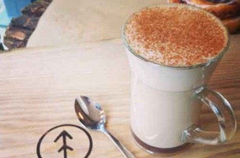 Photo of a finished chai latte at Baltzersen's Scandinavian cafe in harrogate