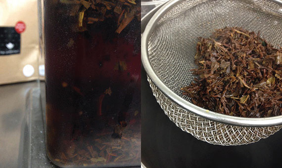 Photo of the tea experience deluxe breakfast tea infusing to add into the chai latte syrup for Baltzersen's new hot drink in Harrogate