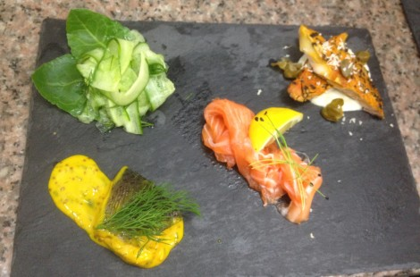 The fish koldtbord currently includes home-cured gravlaks, pickled trout in mustard sauce and smoked peppered mackerel with a cucumber and sea beet salad.