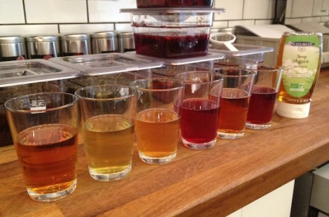The teas ready for testing - lovely colours but it&#039;s about the taste.