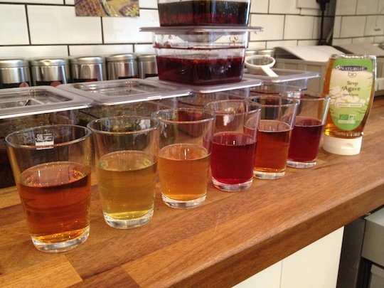 The teas ready for testing - lovely colours but it's about the taste.