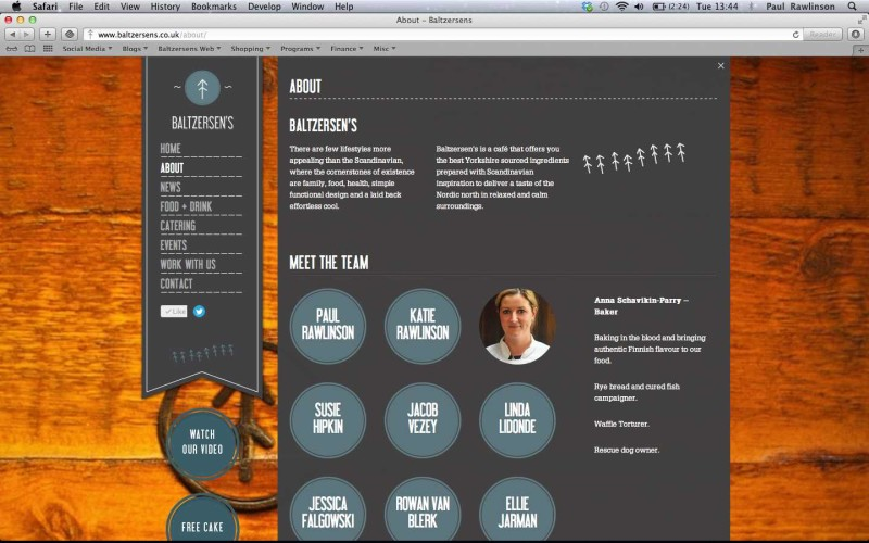 Screen shot of Baltzersens' 'About Us' page