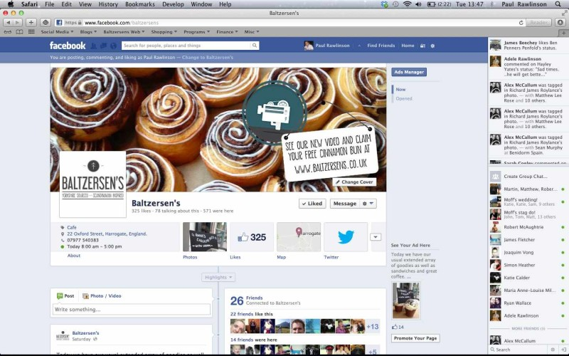 Screenshot of Baltzersens' Facebook page