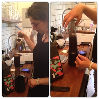 Barista brewing coffee using aeropress and bonavita kettle