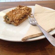 Apricot Crunch Bar at Baltzersen's pictured with cake fork and napkin