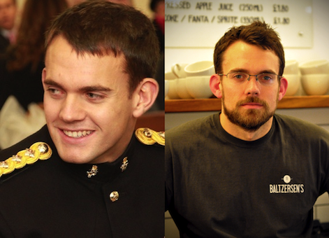 Photos of Baltzersen's owner and Entrepreneur Paul Rawlinson in Army and cafe uniform