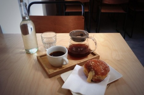 Doughnut and coffee in Talkhouse COffee