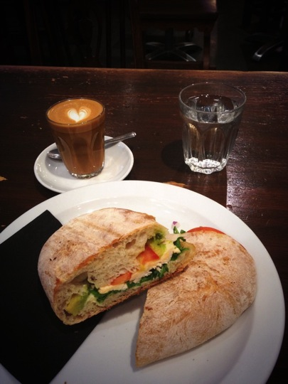 A ciabatta with a piccolo from Taylor St Baristas nr Bank Tube Station London
