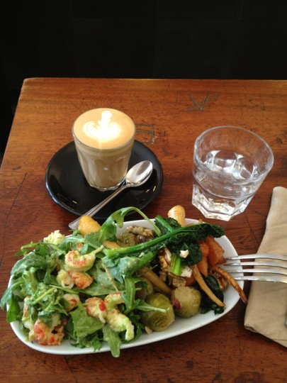 Piccolo coffee with 3 types of salad from Kaffeine.