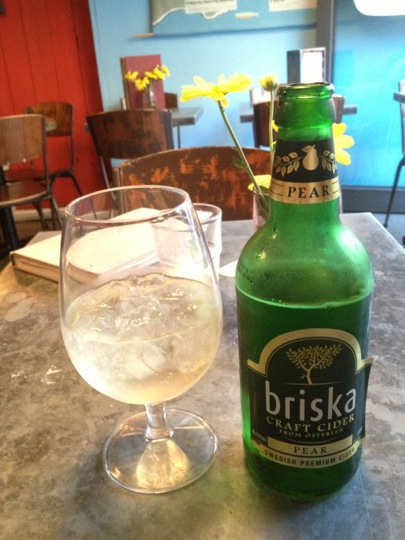 Bottle of iced Swedish cider, Fika Brick Lane