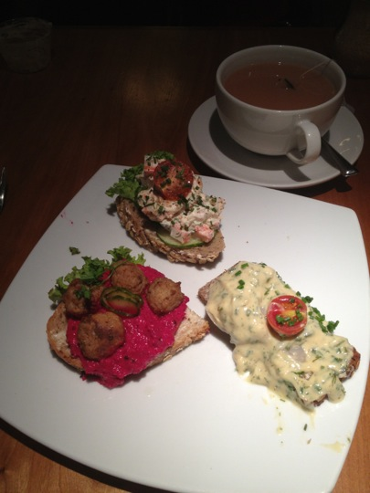 3 varieties of Smørrebrød from Scandinavian Kitchen, London.