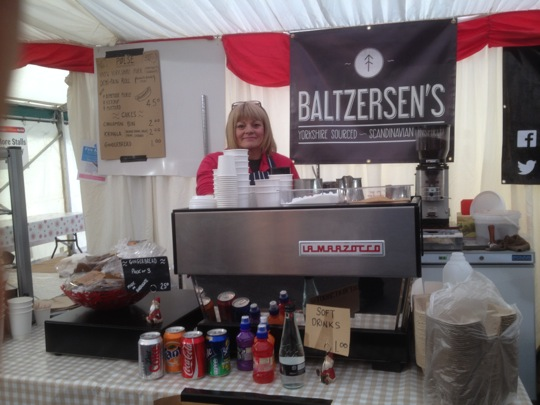 Coffee machine on show at the front of the Baltzersen's Christmas market stall