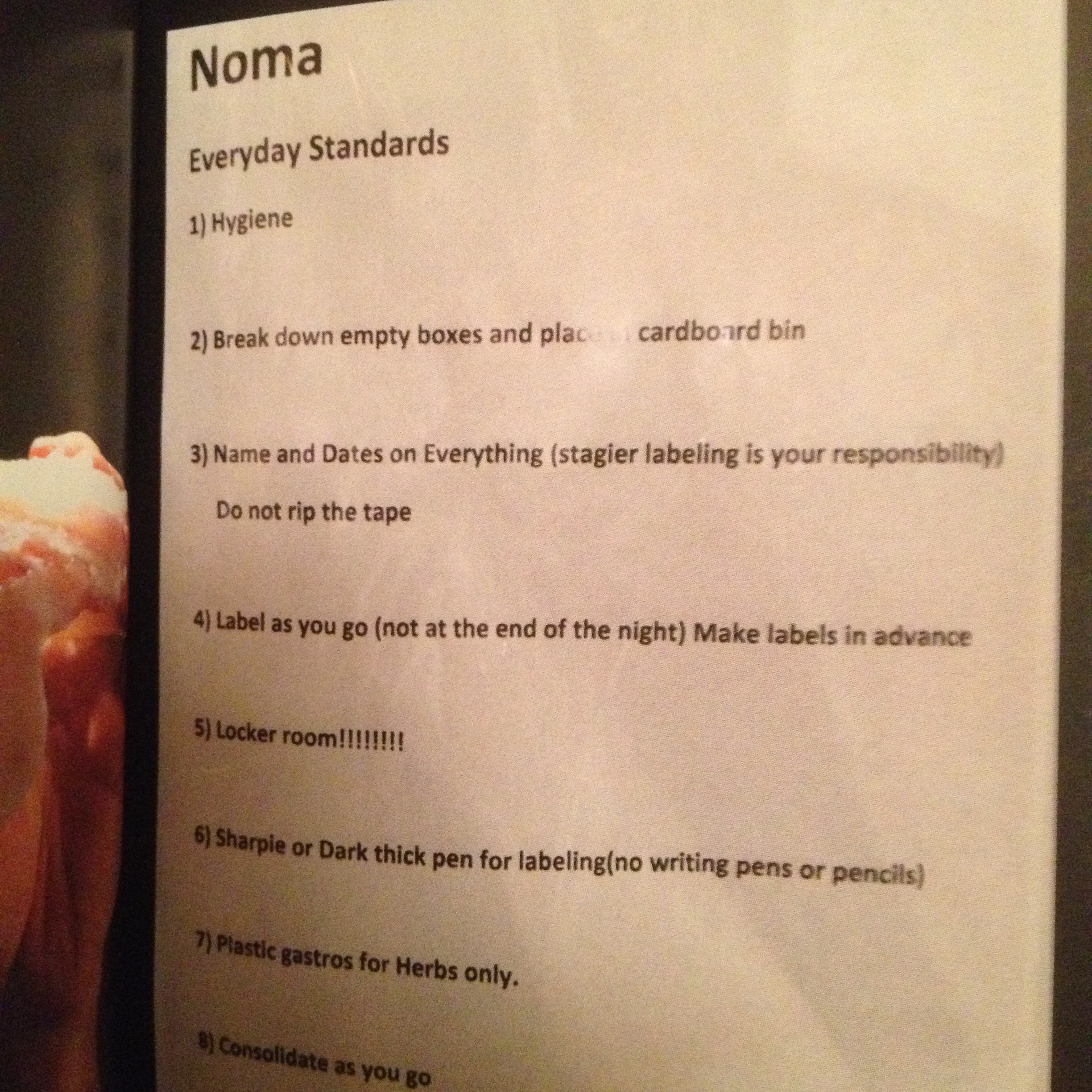A list of everyday standards expected of chefs at Noma, Copenhagen.