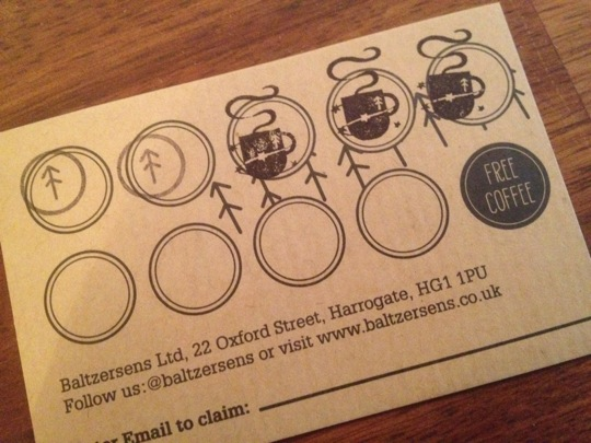 A coffee shop loyalty card with two types of ink stamp.