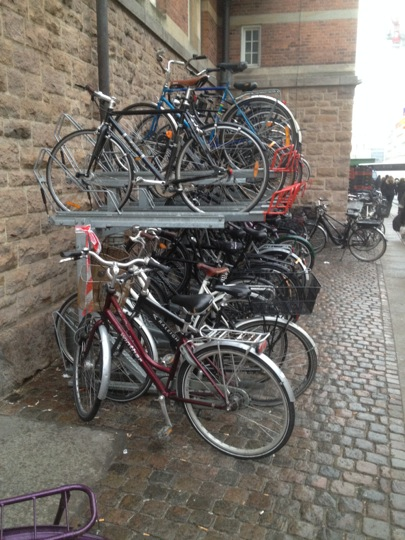 Shot of a double decker bike rack in Copenhagen
