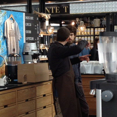 View from behind the counter at speciality coffee shop The Coffee Collective