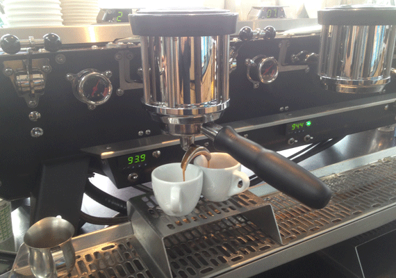 Controls behind Kees Van Der Western 'Spirit' at speciality coffee shop 'The Coffee Collective'
