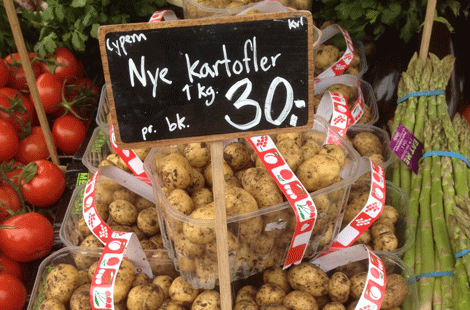 Potatoes at the Torvehallerne Artisan Food Hall in Copenhagen.
