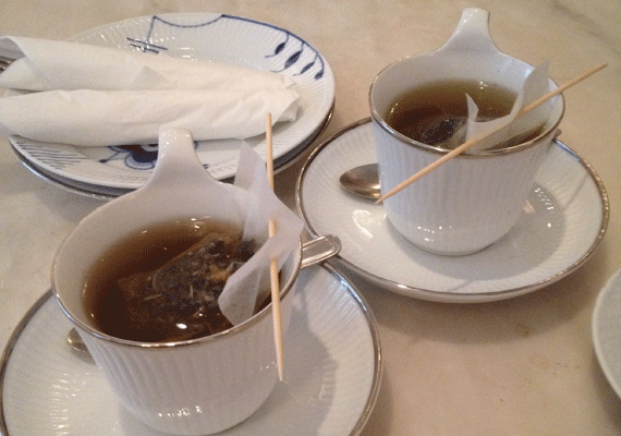 Wellness Tea and Mary's Tea at Royal Smushi Cafe in Copenhagen, home of smørrebrød fusion - 'Smushi'.
