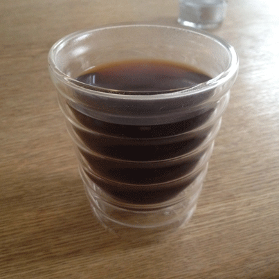 Finished filter in Hario V60 cup from speciality coffee shop Kent Kaffe Laboratorium