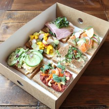 A section of open sandwiches or smørbrød from Baltzersen's in Harrogate.
