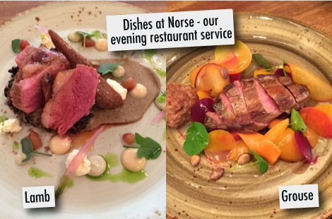 Dishes at Norse, the evening service at Baltzersen's