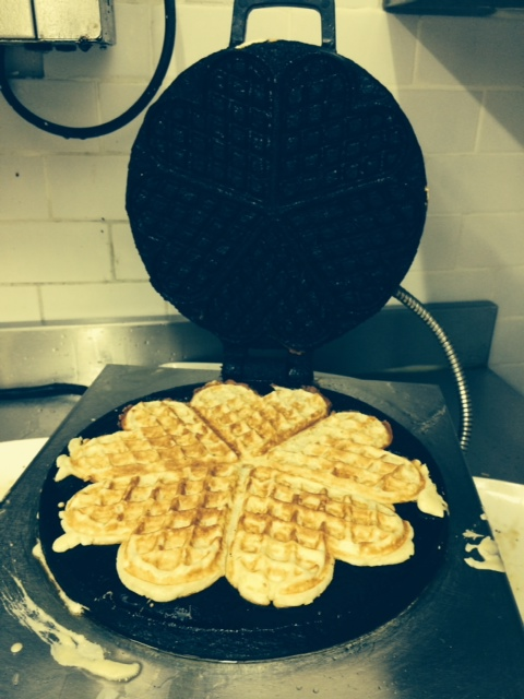 Our trusty waffle iron imported from Trondheim