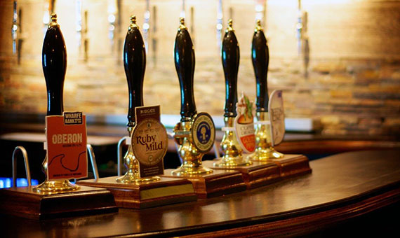 Photo of handful cask ale pumps at independent bar/pub in Harrogate, 10 Devonshire place