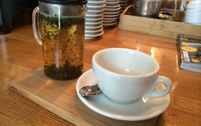 Emily opted for peppermint tea over a speciality coffee (for once)