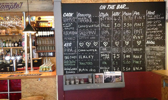 Photo of the black board at independent pub/bar Major Toms Social in Harrogate