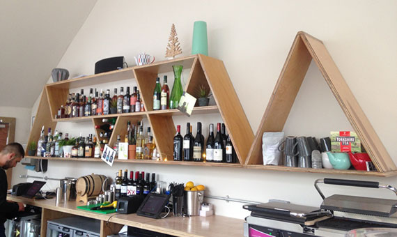 Photo of the shelves behind the bar at new pub/bar in Harrogate, North Bar
