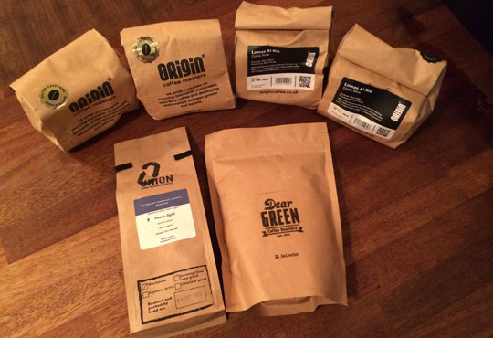 Our sample haul from some of the roasters at Northern Coffee Party: Cup North