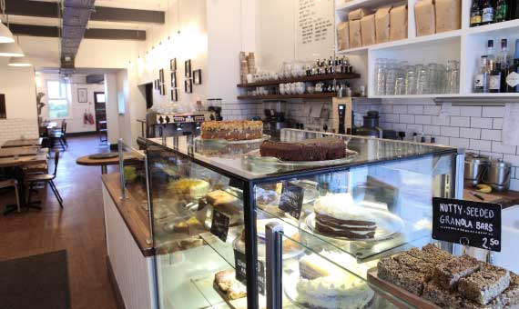 Interior shot of Baltzersen's cafe in Harrogate, home of Fika in Yorkshire.