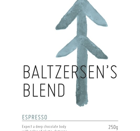 Coffee label for retail bags of Baltzersens Blend from North Star Micro roasters
