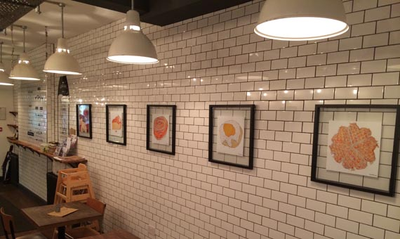 Pictures of scandi baked goods by Olivia Heron, and installed by Stuart Charlton, one of the independent tradesmen.