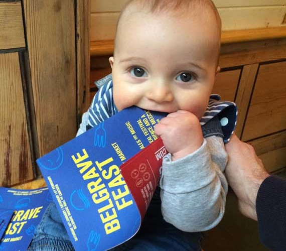 Seth at Bundobust enjoying a leaflet that offers even more independent food in the city.