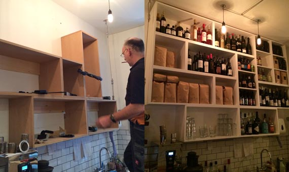 New shelves behind the counter installed by one of the independent tradesmen - Stuart Charlton, Charlton Interiors.