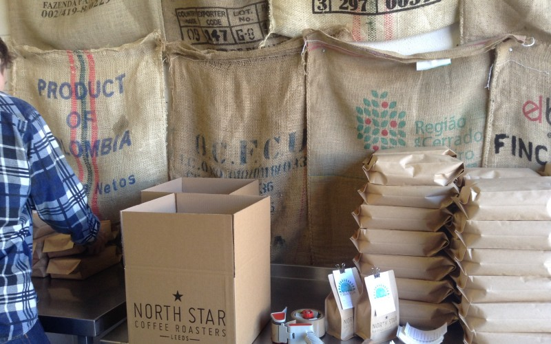 And the list of jobs goes on. This time packaging and labelling the coffee.