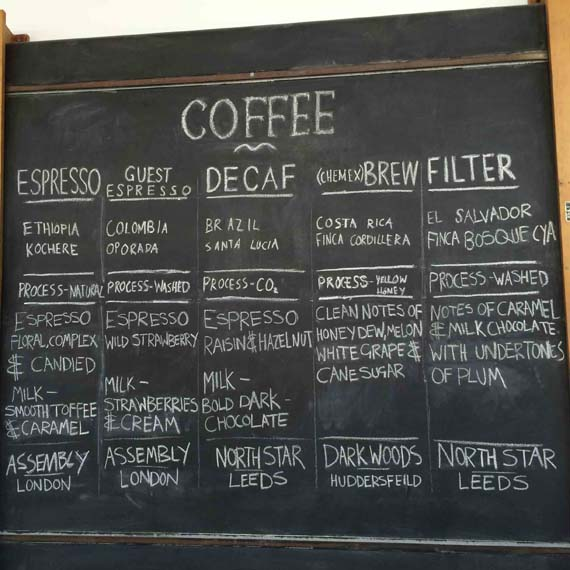 Coffee menu board at Caffeine & Co Leeds Dock