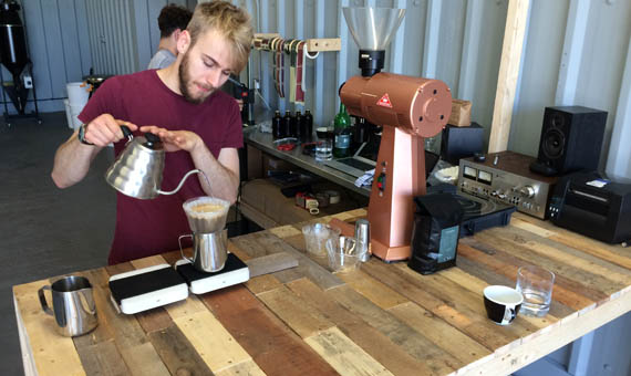 Matt from Maude Coffee Leeds brews up