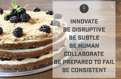 A list of marketing tips on top of a photo of a blackberry cream cake.