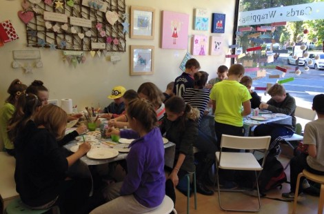 Families decorating items at Independent gift shop Pots2Go in Harrogate.