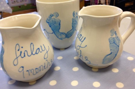 Decorated pots at Pots2Go an independent gift shop in Harrogate.