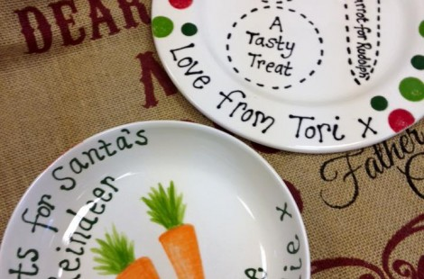 Decorated plates at Pots2Go an Independent gift shop in Harrogate