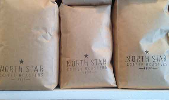 Photo of bags of North star Baltzersen's blend coffee at baltzersens Scandinavian cafe in Harrogate