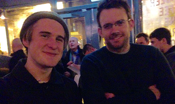Photo of Paul (owner of Baltzersens, Scandinavian Cafe in Harrogate) and Niall at North Bar Harrogate opening night