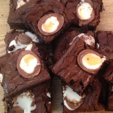 Photo of creme egg brownies for recipe page at Baltzersen's Scandinavian cafe in Harrogate