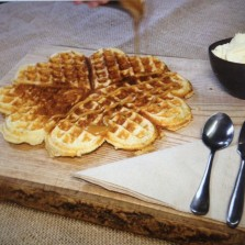 Photo of salted caramel waffles in Scandinavian cafe Baltzersen's in Harrogate